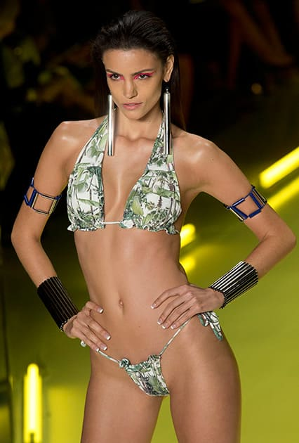 A model wears a creation from the Movimento Summer collection during Sao Paulo Fashion Week in Sao Paulo, Brazil.