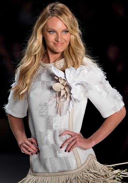 South Africa's model Candice Swanepoe wears a creation from the Forum Summer collection during Sao Paulo Fashion Week in Sao Paulo, Brazil.