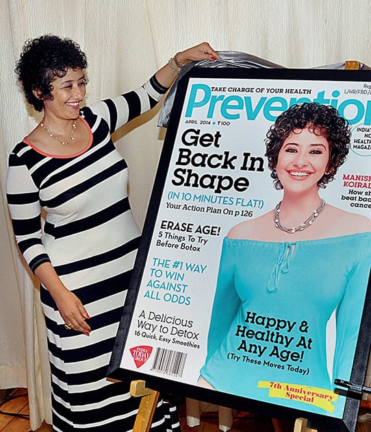 Manisha Koirala during the launch of 7th anniversary cover of health magazine Prevention.