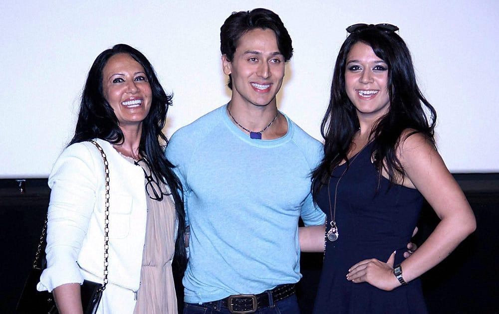 Actor Tiger Shroff, his mother Ayesha (L) and sister Krishna Shroff during the trailer launch of film Heropanti in Mumbai.