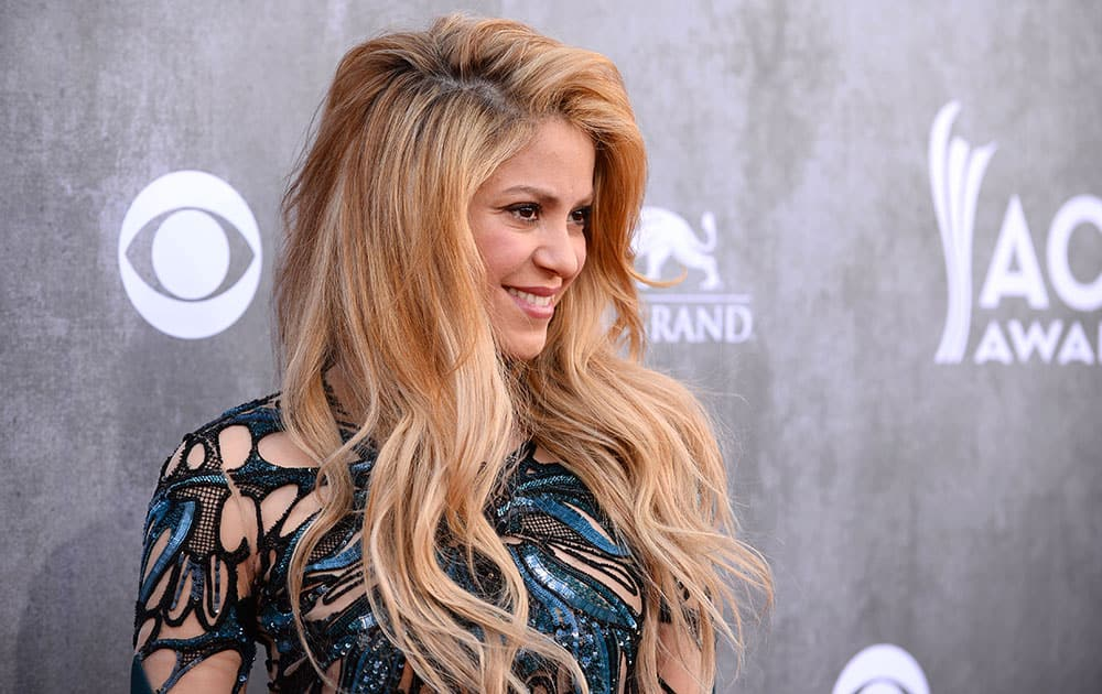 Shakira arrives at the 49th annual Academy of Country Music Awards at the MGM Grand Garden Arena in Las Vegas.