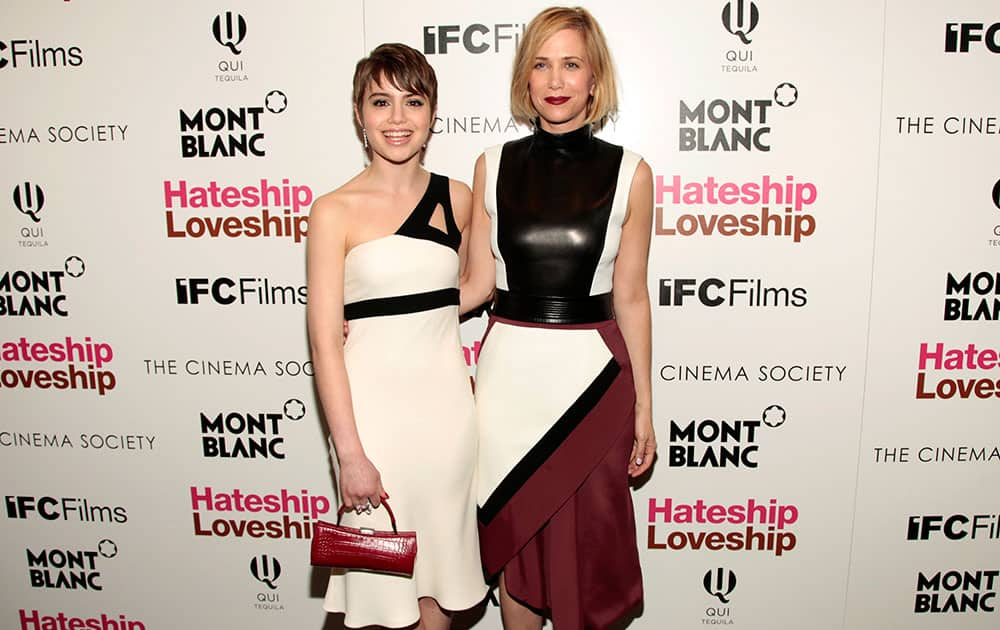 Actresses Sami Gayle, left, and Kristen Wiig, attend a screening of `Hateship Loveship` hosted by The Cinema Society and Montblanc in New York.