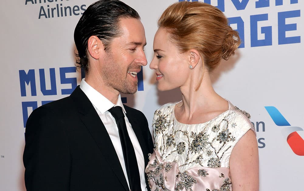 Actress Kate Bosworth, right, and husband Michael Polish attend the Museum of the Moving Image salute to Kevin Spacey in New York.