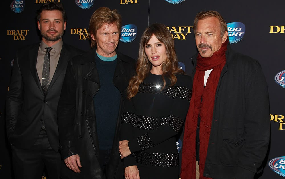 Actors Tom Welling, Denis Leary, Jennifer Garner and Kevin Costner attend a special screening of 'Draft Day' at the Landmark Sunshine Cinema, in New York.