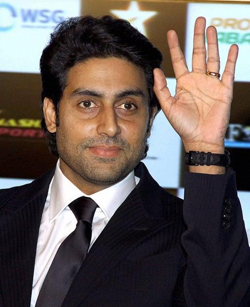 Bollywood actor Abhishek Bachchan at a press conference for Pro Kabbadi League in Mumbai.