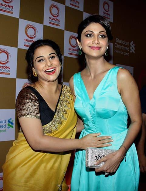 Vidya Balan and Shilpa Shetty during a fundraiser in Mumbai.