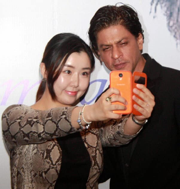 Bollywood actor Shahrukh Khan at an event for receiving the certificate for 'Goodwill Ambassador of Public Diplomacy' for Korea, in Gurgaon.