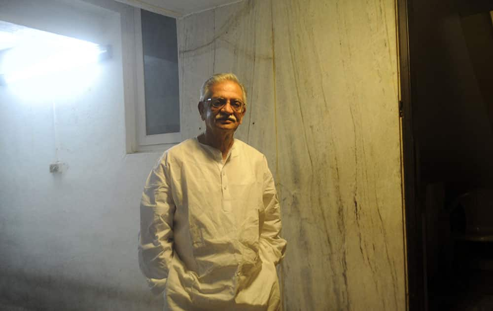 Lyricist Gulzar at his residence in Bandra. Pic Courtesy: DNA