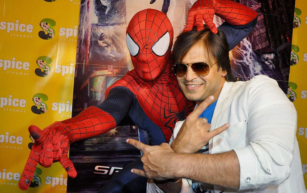 Film actor Vivek Oberoi at a press conference in Noida.