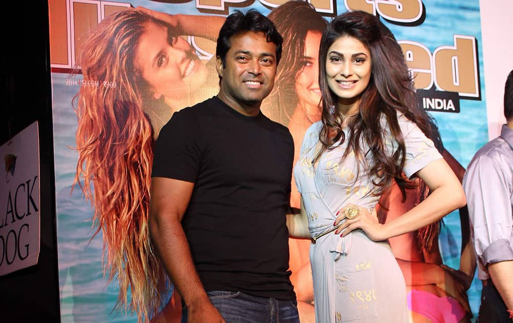 Leander Paes (L) and Puja Gupta (R) at the magazine cover launch in Mumbai. DNA