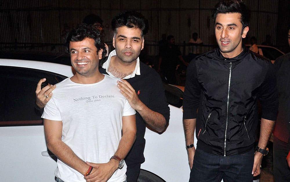 Vikas Bhal, Karan Johar and actor Ranbir Kapoor during a party for their upcoming film 'Bombay Velvet' in Mumbai.