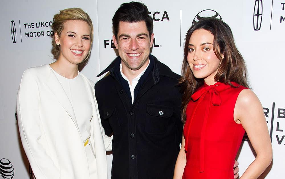 Maggie Grace, Max Greenfield and Aubrey Plaza attend the premiere of 'About Alex' during the Tribeca Film Festival, in New York.