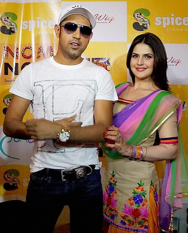 Punjabi singer Gippy Grewal and actress Zarine Khan at a promotional event for their film 'Jatt James Bond' in Noida.