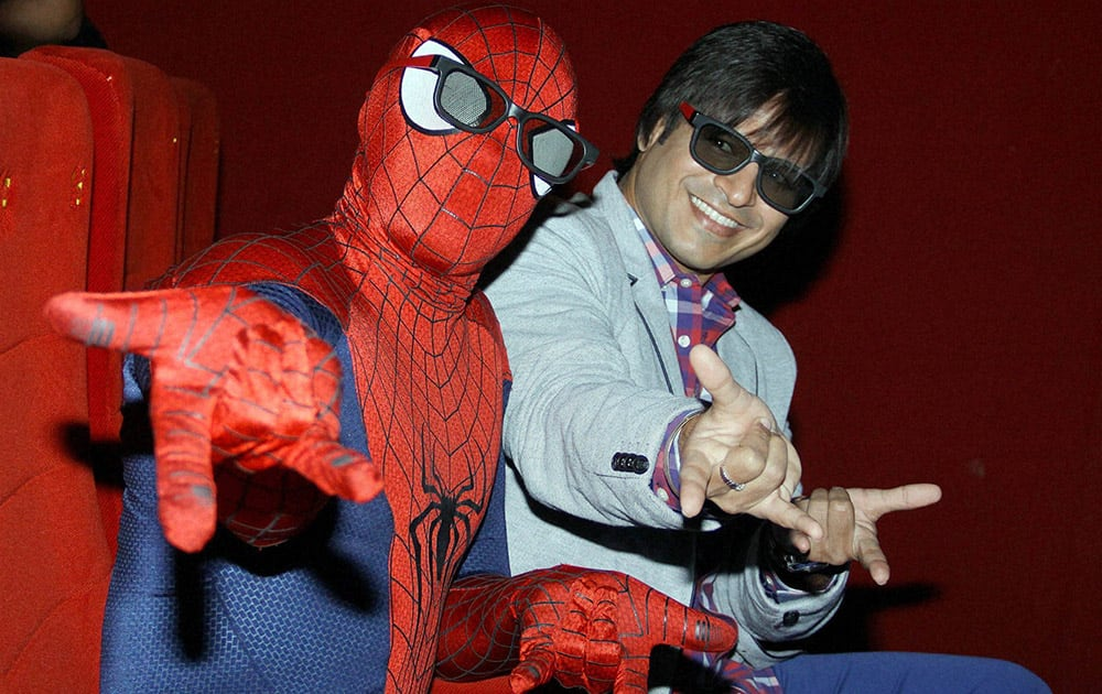Vivek Oberoi at a special screening of 'Amazing Spiderman 2' at a cinema hall in Mumbai.