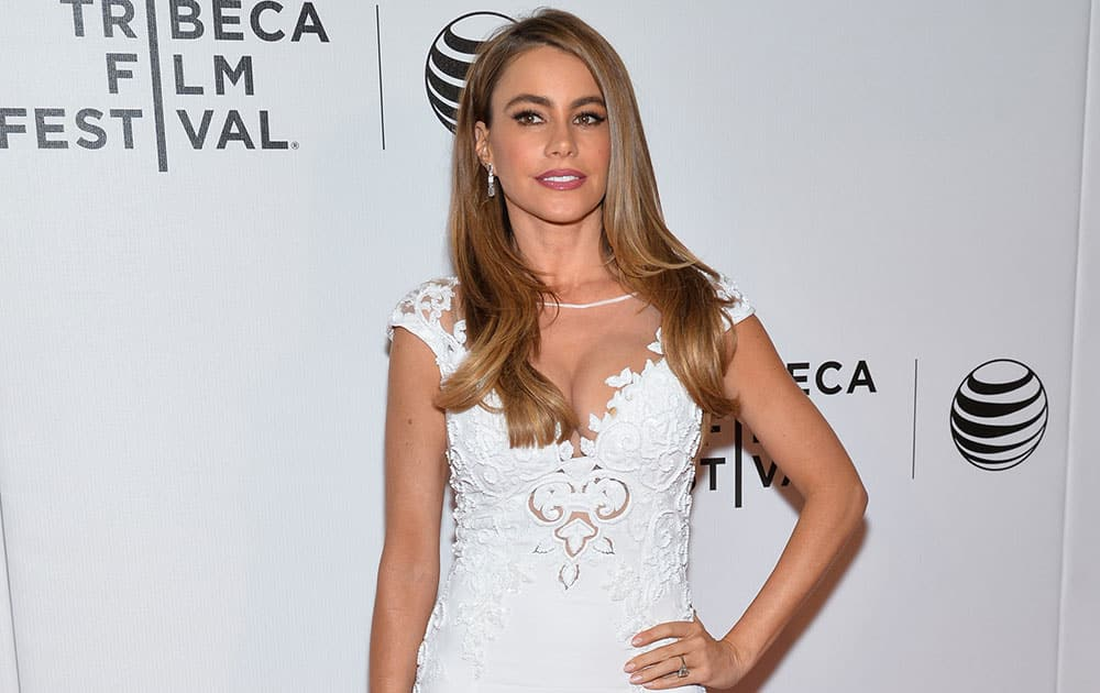 Actress Sofia Vergara attends the premiere for `Chef` during the 2014 Tribeca Film Festival in New York.