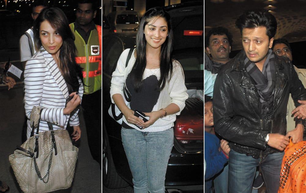 Bollywood actor Malaika Arora, Yami Gautam and Ritesh Deshmukh departs on Wednesday from Mumbai's CST International Airport for Florida, USA to take part in IIFA 2014 awards ceremony.