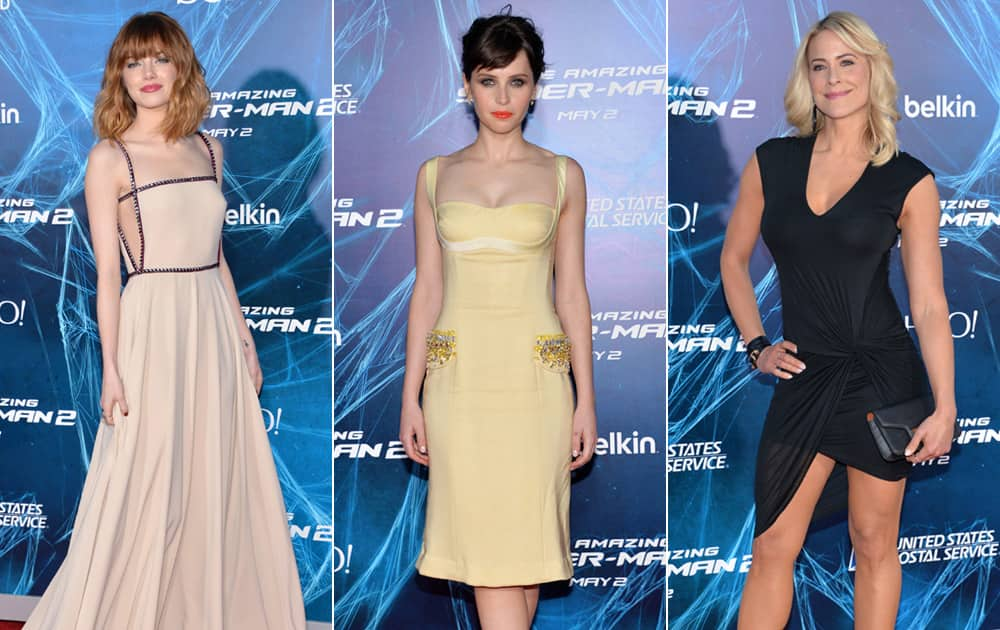 Emma Stone, Felicity Jones and Brittany Daniel arrive at the NY Premiere of 'The Amazing Spider-Man 2', in New York.