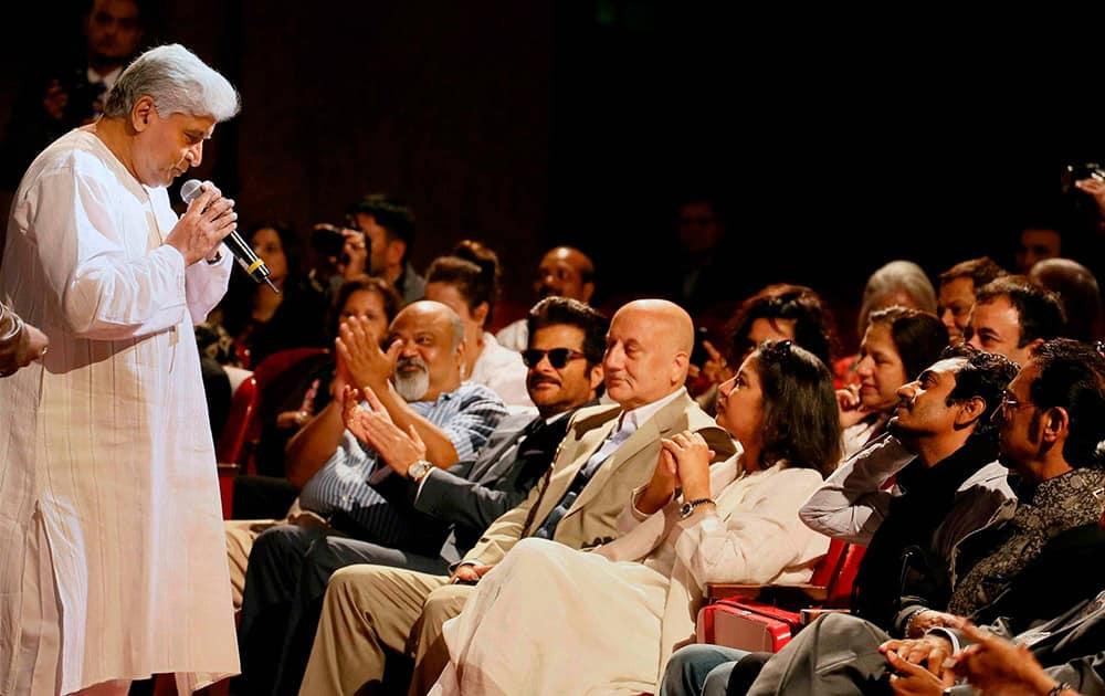 Javed Akhtar speaks at International Indian Film Academy (IIFA) function in Florida, US.