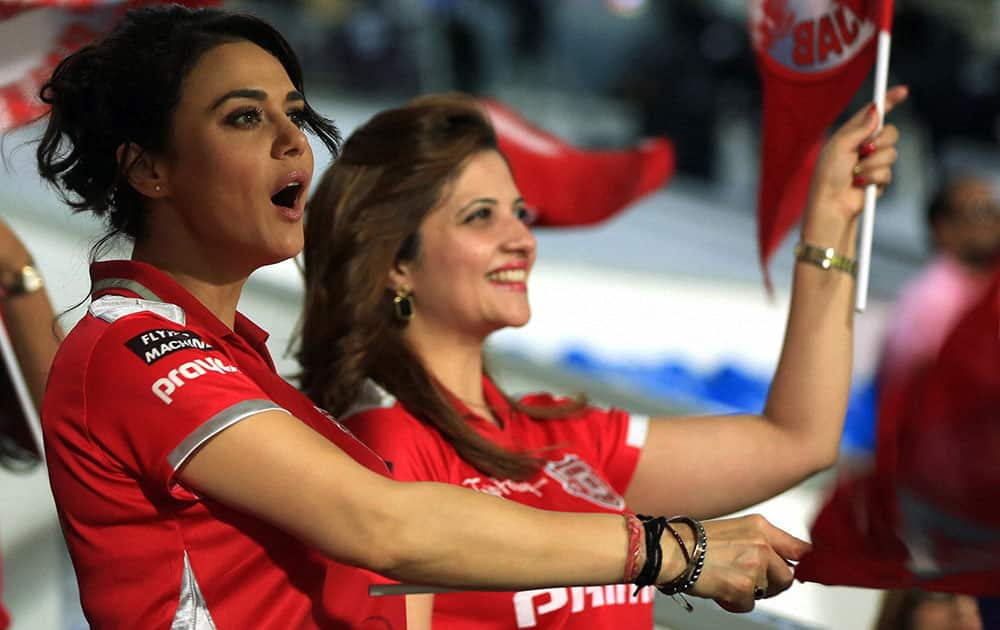 Preity Zinta co-owner of Kings XI Punjab during an IPL 7 match against Sunrisers Hyderabad in Sharjah.