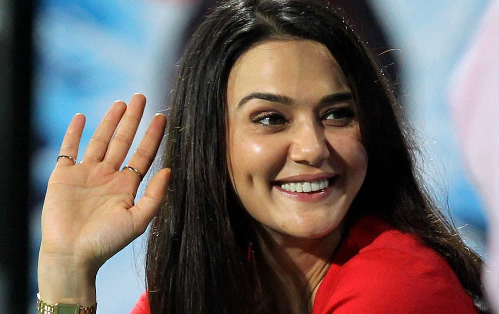Preity Zinta co-owner of Kings XI Punjab during an IPL 7 match.