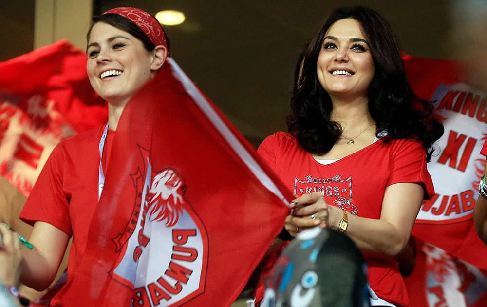 Preity Zinta Owner of Kings XI Punjab during the Indian Premier League 2014 Season between The Kings XI Punjab and the Kolkata Knight Riders at the Sheikh Zayed Stadium, Abu Dhabi, United Arab Emirates.