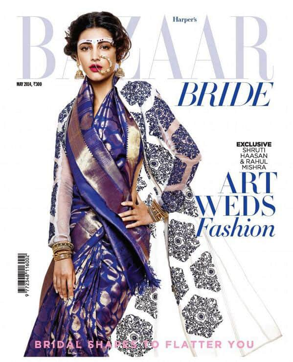 The dazzling Shruti Haasan graces the cover of Harper's Bazaar Bride May issue 2014!. Pic Courtesy: Twitter