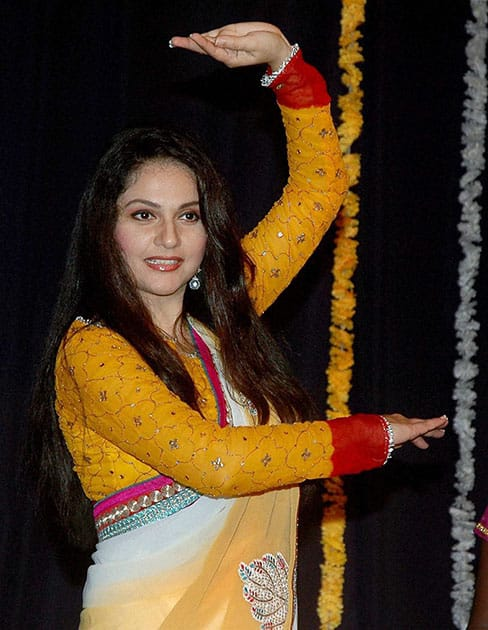Bollywood Actress Gracy Singh performs during the occassion of World Dance day celebration in Mumbai.