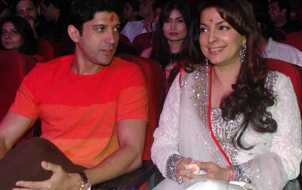 Bollywood Actors Farhan Akhter and Juhi Chawala during the Dada Saheb Phalke award event in Mumbai.