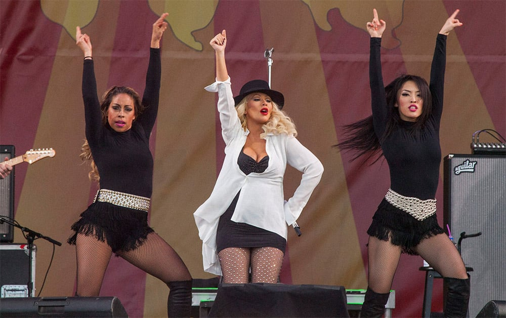 Christina Aguilera performs at the New Orleans Jazz and Heritage Festival in New Orleans.