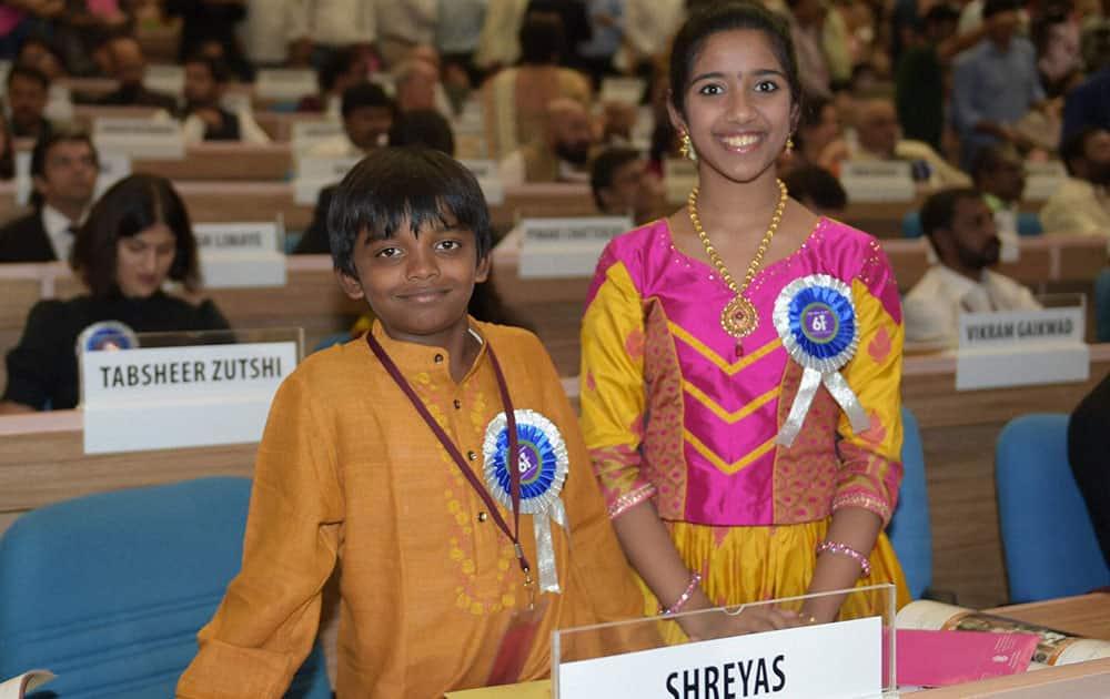 Best Child Artist award winner Sadhana with Shreyas at the 61st National Film Awards 2013 function in New Delhi.