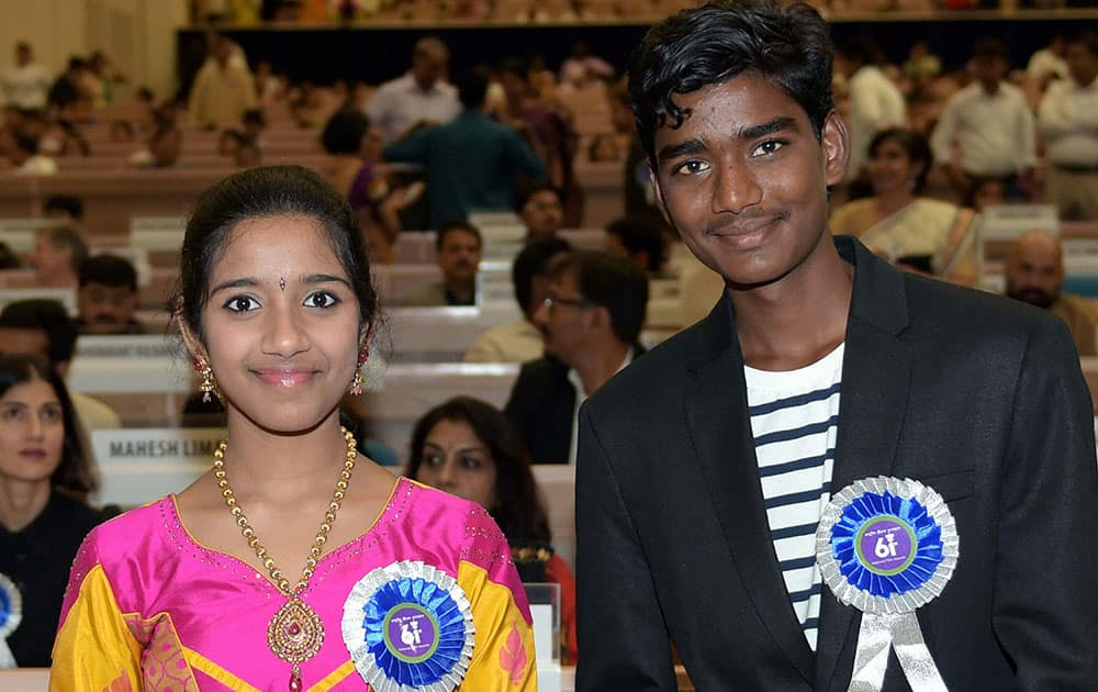 Best Child Artisits award winners Sadhana and Somnath Avghade at the 61st National Film Awards 2013 function in New Delhi.