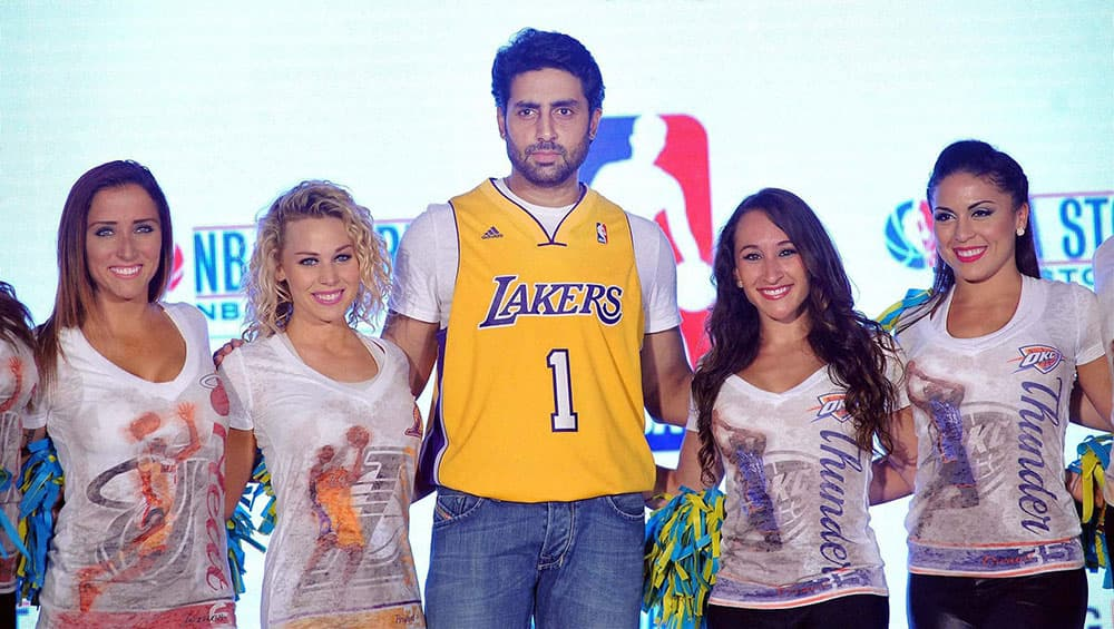 Bollywood actor Abhishek Bachchan during the launch of NBA's first official online store, in Mumbai.