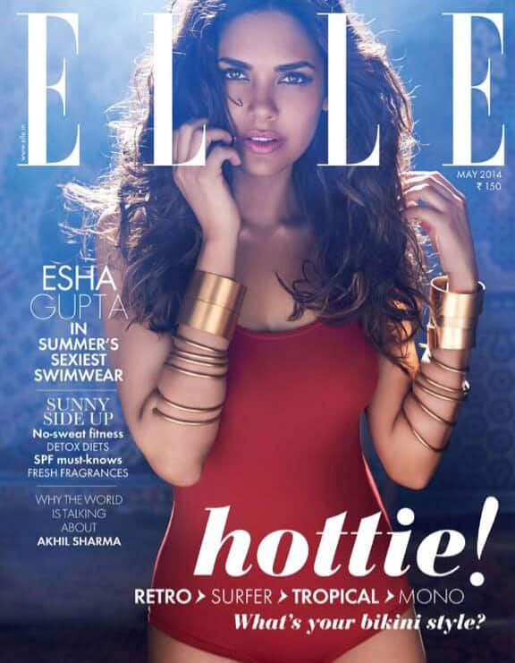 Esha Gupta looking gorgeous on the cover of of May issue of ELLE INDIA magazine. Pic Courtesy: Twitter