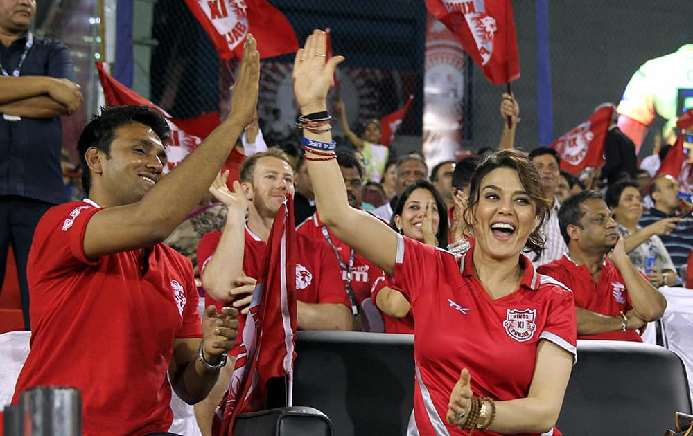 Kings X1 Punjab owner Preity Zinta celebrates during the IPL 7 match between KXIP and Chennai Super Kings at the Barabati Stadium in Cuttack.