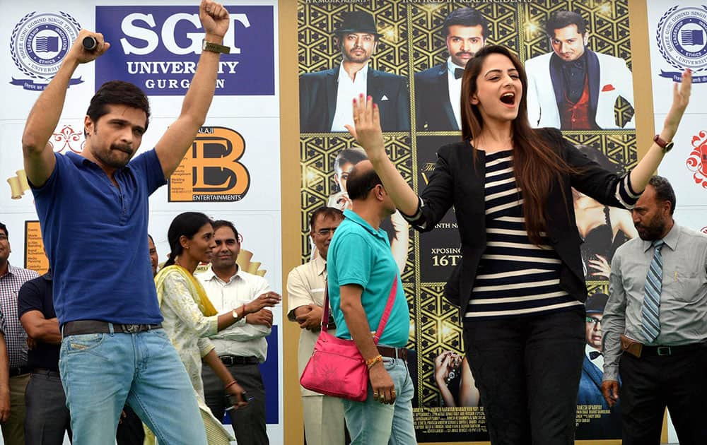 Bollywood actors Himesh Reshammiya & Zoya Afroz during a promotional event for their upcoming film 'The Xpose' in Gurgaon.
