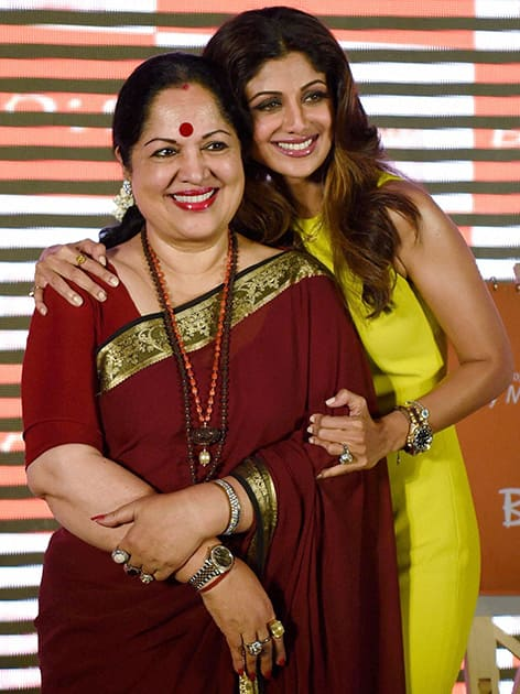 Bollywood actress Shilpa Shetty with her mother Sunanda Shetty during an event to celebrate Mothers Day in Mumbai.
