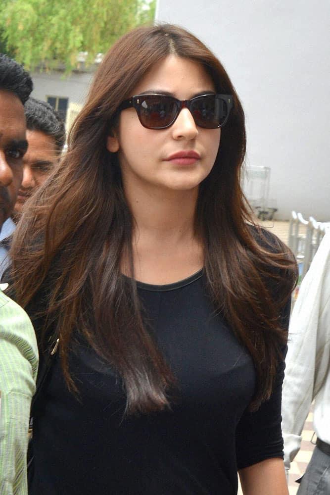 Bollywood actress Anushka Sharma leaves after a film shoot in Khejarla Fort in Jodhpur.