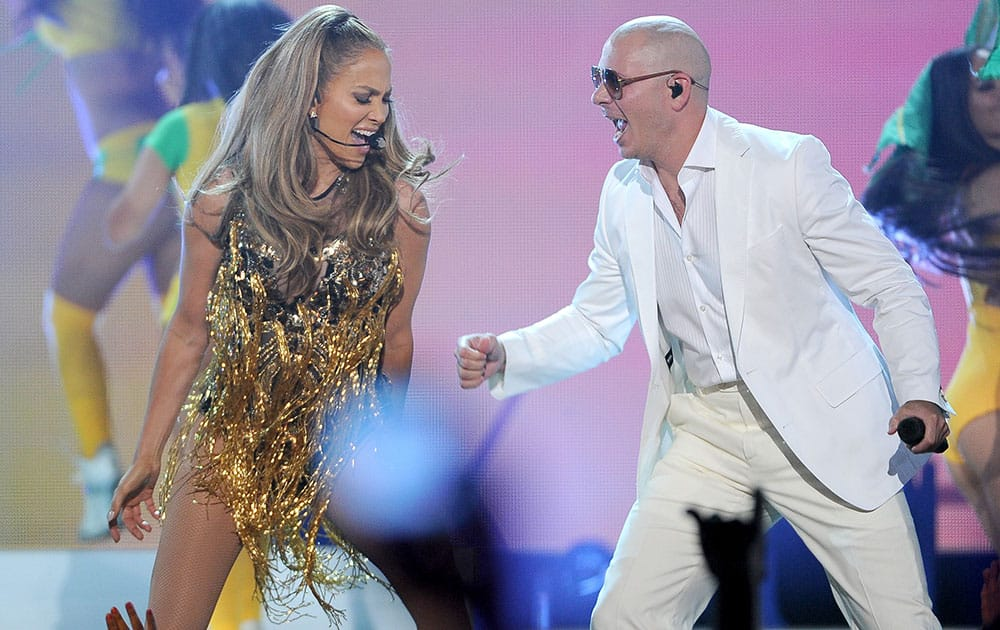 Jennifer Lopez and Pitbull perform at the Billboard Music Awards at the MGM Grand Garden Arena in Las Vegas.