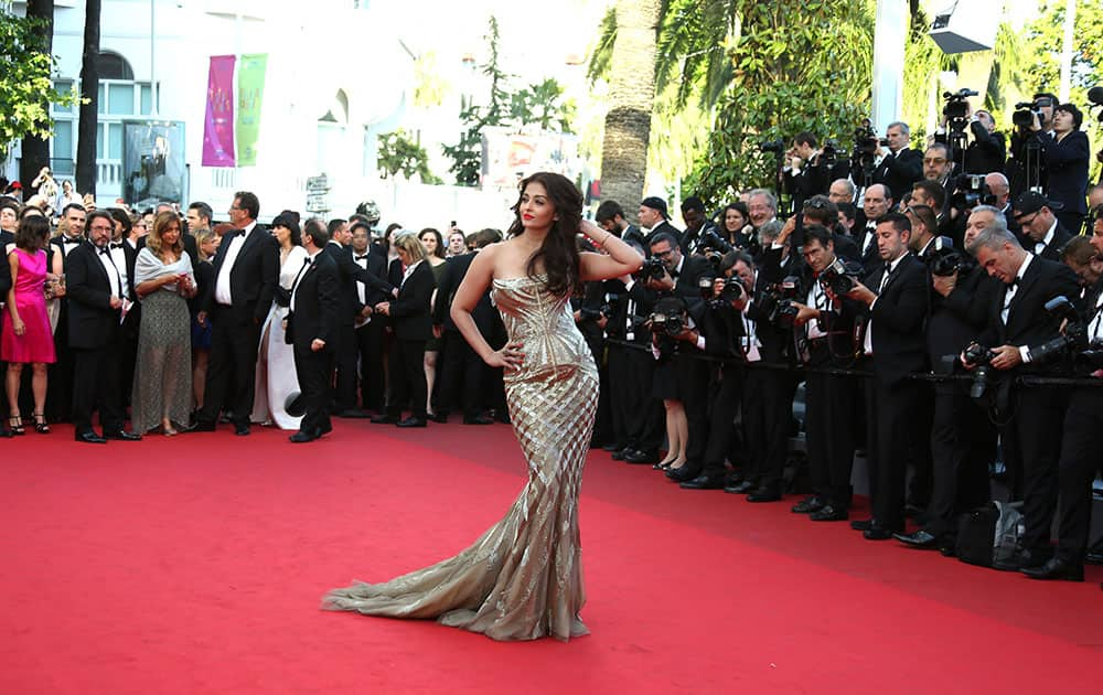 Aishwarya Rai Bachchan poses on the red carpet for the screening of Two Days, One Night (Deux jours, une nuit) at the 67th international film festival, Cannes, southern France.