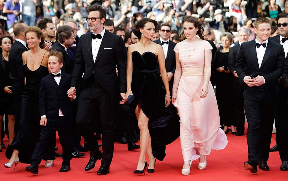 Actor Abdul Khalim Mamatsueiv, director Michel Hazanavicius, actress Berenice Bejo, actor Zukhra Duishvili and actor Maxim Emelianov arrive for the screening of The Search at the 67th international film festival, Cannes.