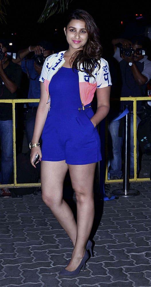 Bollywood actress Parineeti Chopra arrives to attend filmmaker Karan Johar's birthday party in Mumbai.
