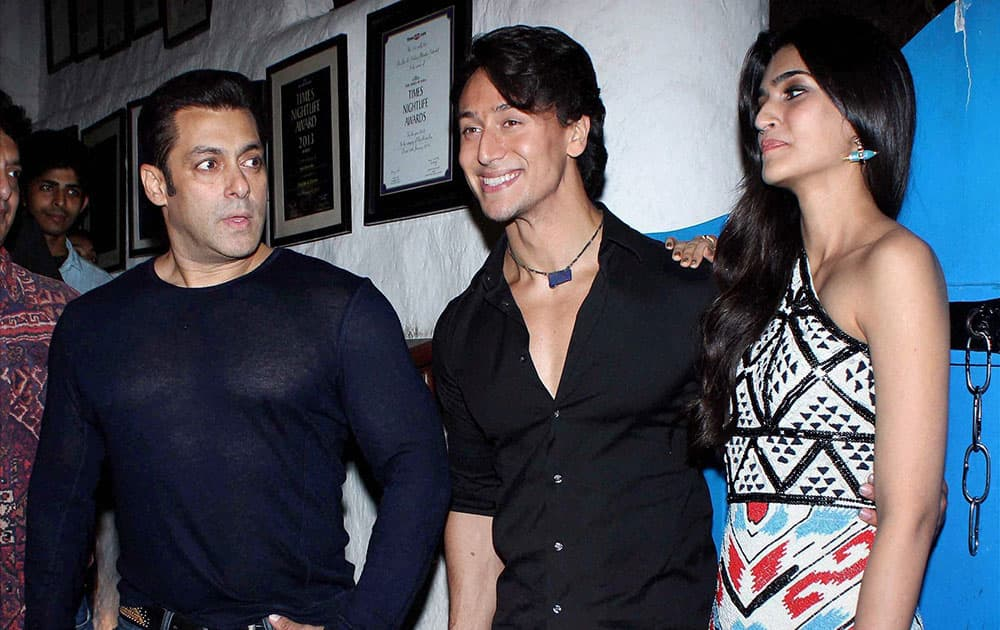 Bollywood actors Salman Khan, Tiger Shroff and Kriti Sanon during the success party of the film Heropanti in Mumbai.