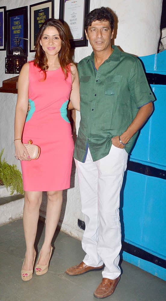 Bhavana and Chunky Pandey during the success party of the film Heropanti in Mumbai.
