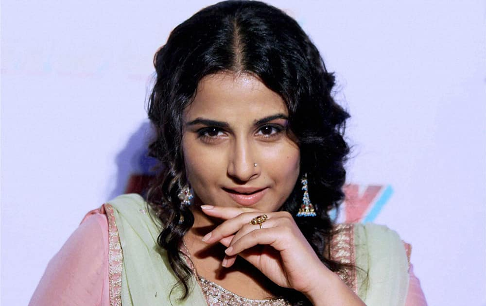 Vidya Balan poses during the trailer launch of the forthcoming Hindi film 'Bobby Jasoos' in Mumbai.