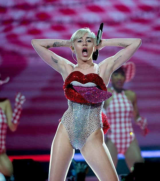 US singer Miley Cyrus performs during her concert at the Ericsson Globe Arena in Stockholm, Sweden.
