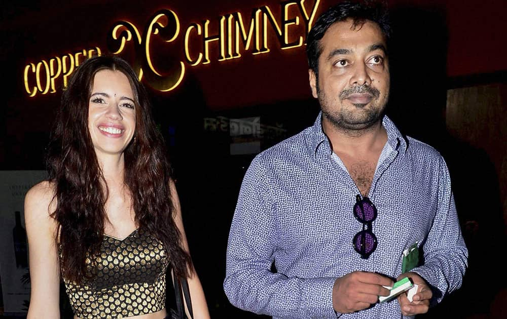 Bollywood filmmaker Anurag Kashyap and his estranged wife Kalki Koechlin during the premiere of a documentary film in Mumbai.