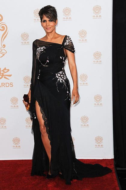 Halle Berry attends the press room at the Huading Film Awards held at the Ricardo Montalban Theater in Los Angeles.