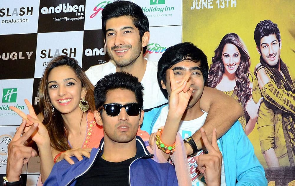 Actors Kiara Advani, Mohit Marwah, Arfi Lamba and Boxer Vijender Singh during a press conferance to promote their upcoming film 'Fugly in Thane.