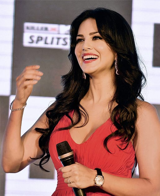 Sunny Leone interacts with media during the launch of a TV show in New Delhi.
