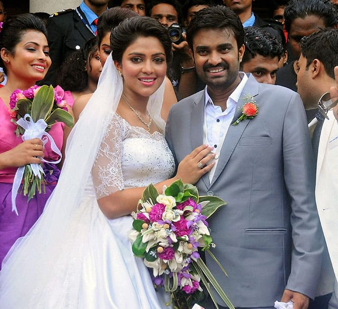 Actress Amala Paul with director A. L Vijay during their engagment in Kochi.